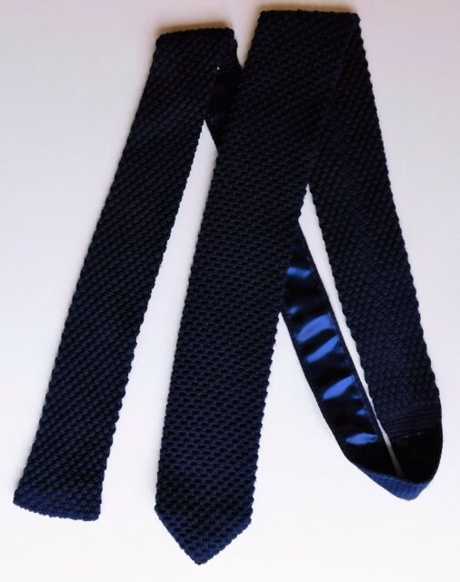 Jeff Banks knitted tie vintage 1990s navy blue