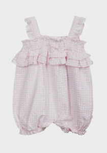 d9e0df486 BABY GIRLS BABALUNO PINK GINGHAM 100% COTTON ROMPER 0-12 MTH FREE ...