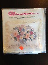 "Vintage 1978 CM Columbia Minerva Crewel Embroidery Pillow Kit Floral 16"" x 12"""