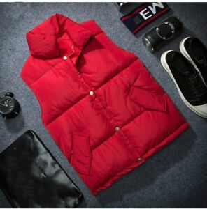 Men-Quilted-Gilet-Waistcoat-Padded-Puffer-Winter-Coat-Sleeveless-Jacket-Top-Slim