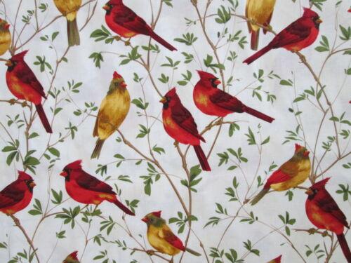 REALISTIC BIRDS CARDINALS TREES COTTON FABRIC 15 IN SCRAP CUT