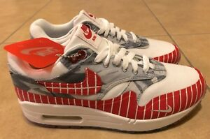 Nike Air Max 1 LHM Los Primeros Running Shoes White Red AH7740 100 Mens Size 4
