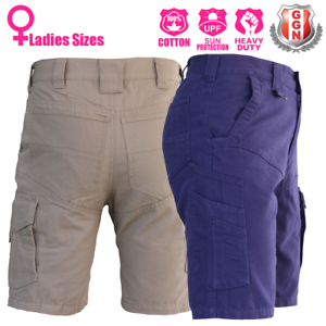 Ladies-Cargo-Work-Shorts-Cotton-Drill-Work-Wear-UPF-50-13-pockets-Modern-Fit