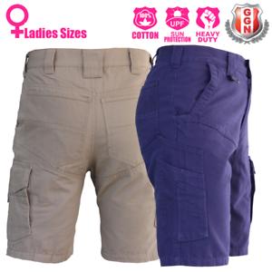 Ladies-Cargo-Work-Shorts-Cotton-Drill-Work-Wear-UPF-50-13-pockets-Modern-Fit