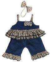 Teddy Bear Clothes fit Build a Bear Teddies Denim Leopard & Bow Set Clothes