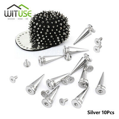 10 Pcs 10mm Silvery Metal Bullet Spikes Studs Rivets Cone Screwback Spots Trendy