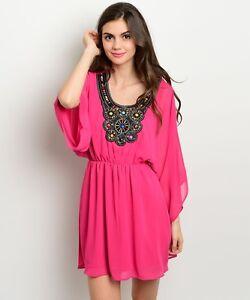 Boho-Chic-Juniors-Embellished-Fuchsia-Party-Cruise-Club-Beach-Mini-Dress-USA