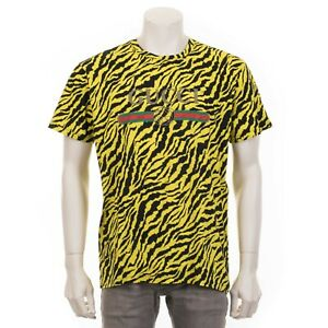 1907e0d39d45c GUCCI  780 Yellow Zebra Print Oversize T-Shirt With Gucci Logo