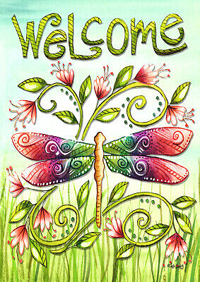 Toland Dragonfly Welcome 28 X 40 Welcome Spring Flowers Field House Flag Ebay