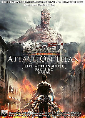Anime DVD Attack on Titan : Live Action Movie Part 1 & Part 2 Complete Box Set