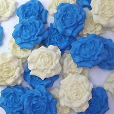 12 BLU CIELO CREMA ZUCCHERO ROSE Commestibile Pasta di zucchero fiori Wedding Cake Decorazioni