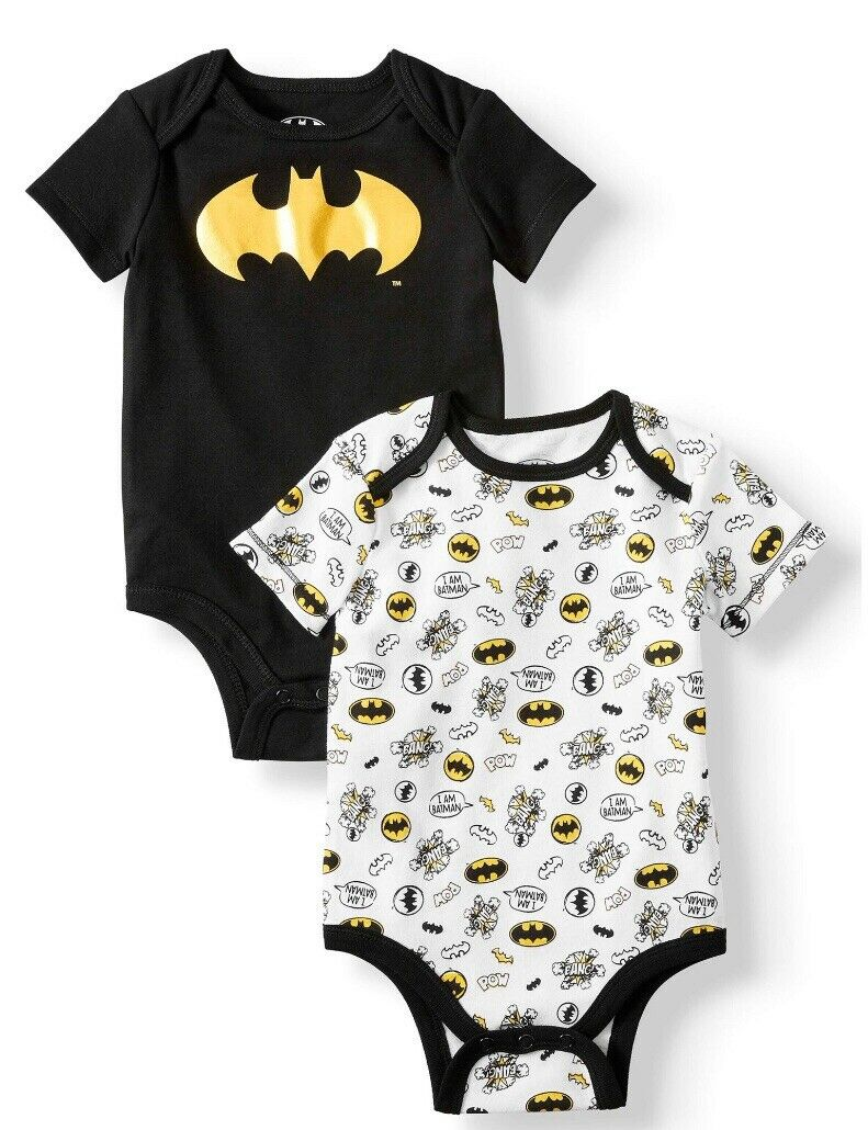 New DC Comics  Batgirl Batman Superhero Glitter Logo 2 Pack Bodysuits Baby Girl