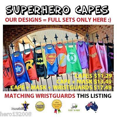 Superhero Super Hero Capes Costume mask Batman Superman Birthday Kids Party boys