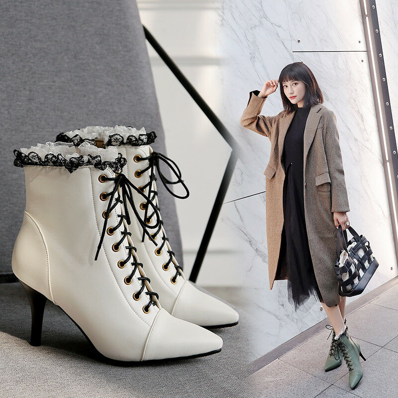 Womens Sweet Lace Pointy Toe Lace Up Kitten Heels Side Zip Ankle Boots Plus Size