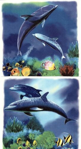 "2 Dolphin Ocean Scene 5-1//2/"" X 5-1//2/""  Waterslide Ceramic Decals Xx"
