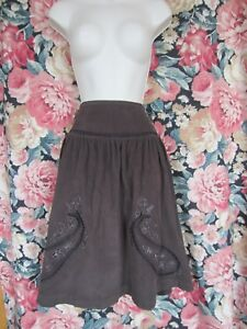 bf102d5f1a Image is loading Zara-TRF-Chocolate-brown-velvet-skirt-with-embroidery-