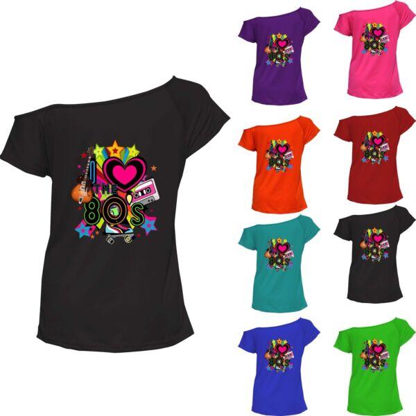 629b1b30ea9c8 I Love The 80s Top Ladies T-shirt Pop Star Retro Off Shoulder Tee Lot  6021758 ®