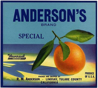 ANDERSON'S BRAND~RARE ORIGINAL 1930s LINDSAY CALIFORNIA ORANGE FRUIT CRATE LABEL