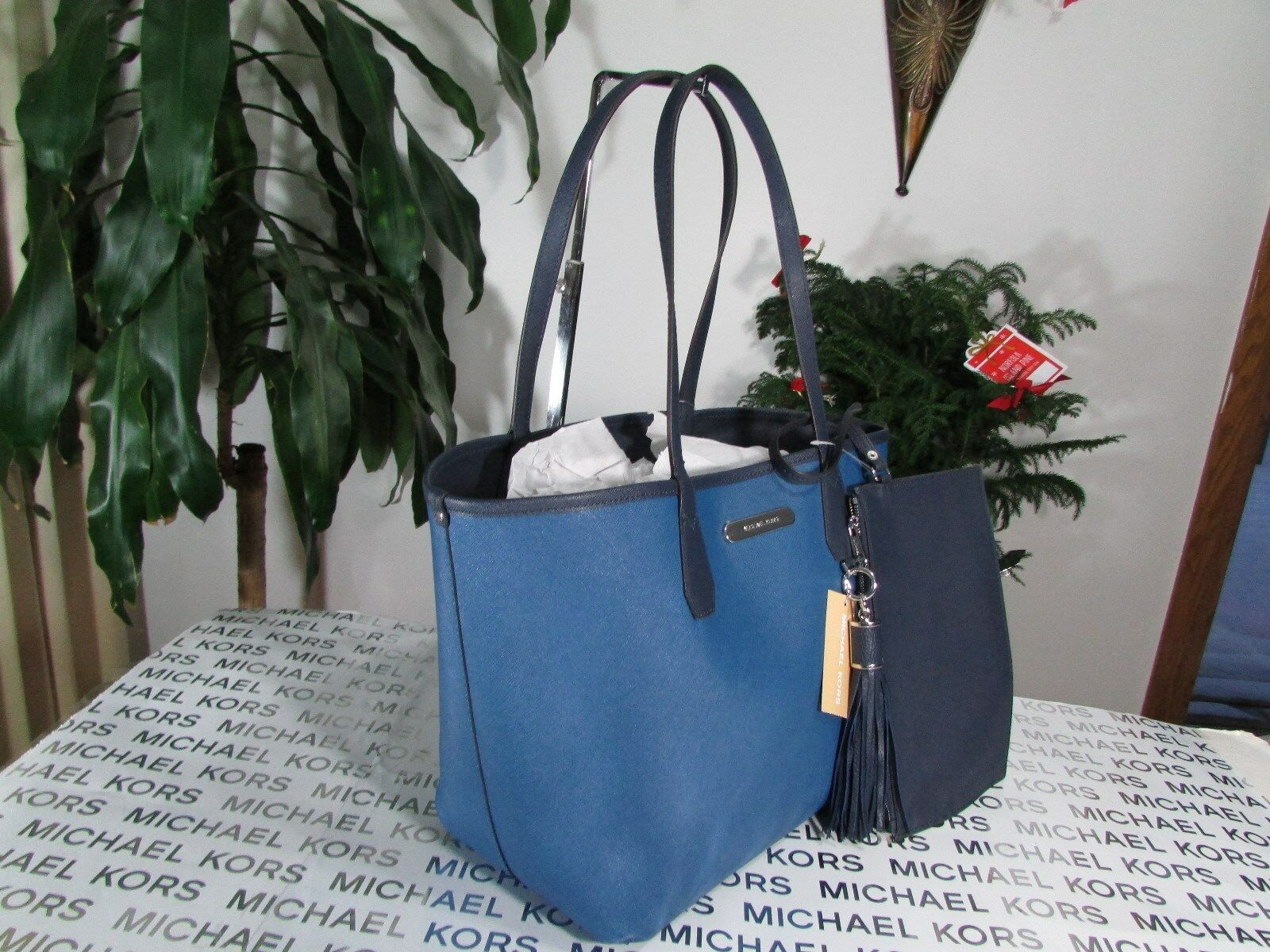 5a9a84484a2e3b Michael Kors Candy LG Reversible Tote Shoulder Bag Navy/ Steel Blue Leather  for sale online | eBay