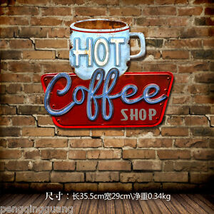 Image Is Loading Vintage Tin Signs Coffee Cup Shape Metal Hanging