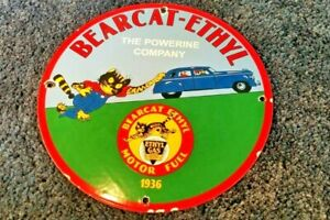 BEARCAT-ETHYL-PORCELAIN-GENERAL-MOTORS-CHEVROLET-VINTAGE-STYLE-GASOLINE-SIGN