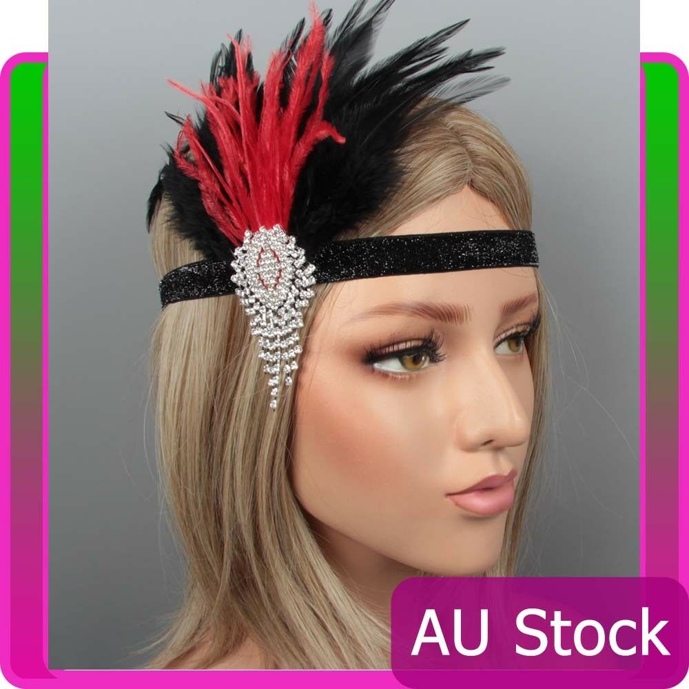 1920s Headband Black Feather Bridal Red Gatsby 20s Flapper Headpiece Gangster