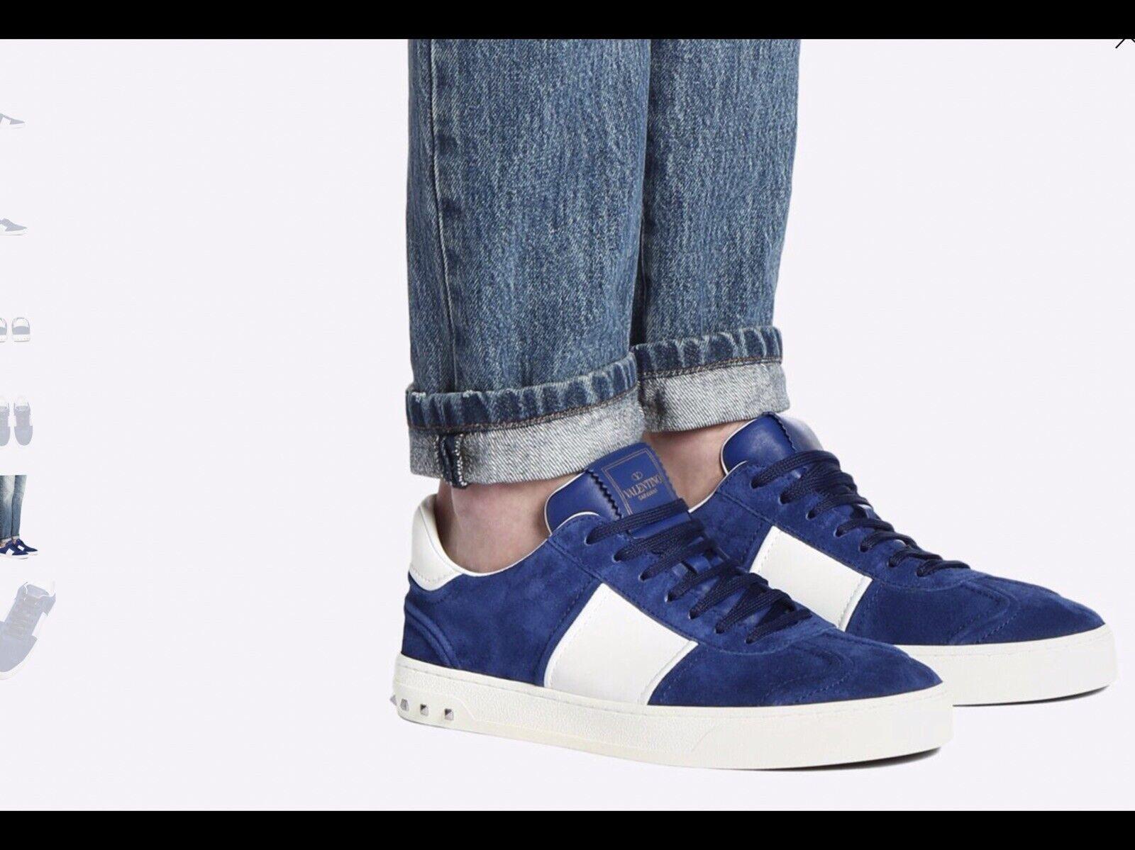 Men's VALENTINO GARAVANI Flycrew Sneakers bluee Suede Stud Trainers