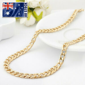18K-Gold-Filled-Ladies-Mens-7MM-Classic-Solid-Curb-Chain-Necklace-20-034-Stunning