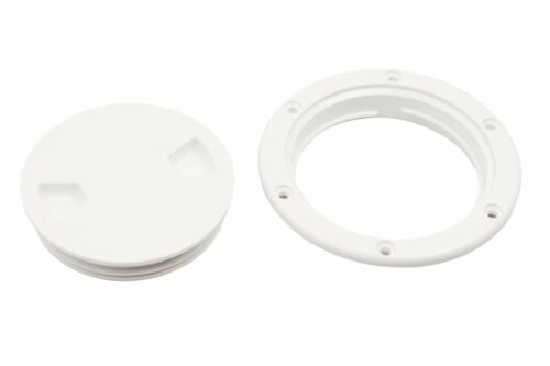 Boat 8/'/' Inch Screw Out White Plastic Round Marine Deck Plate Inspection Hatch