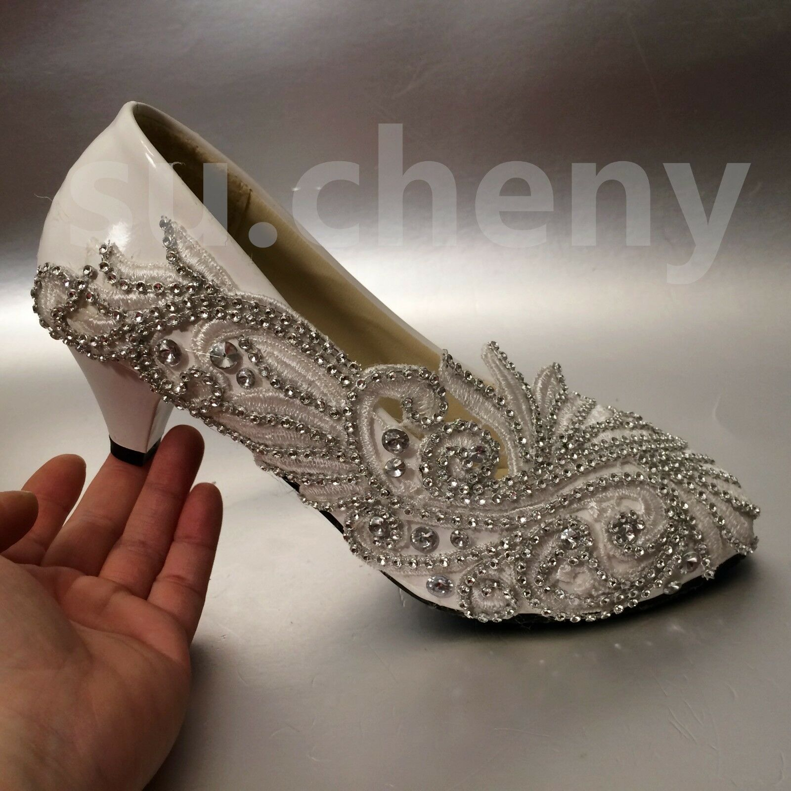 Su.cheny Wedge low high heels crystal Lace crystal heels Weiß ivory pump Wedding Bridal schuhe 283a76