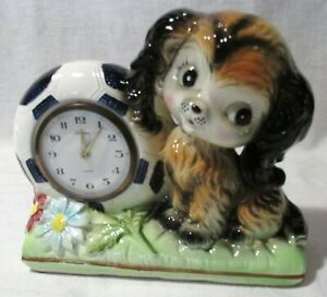 VINTAGE-TRADITIONS-CERAMIC-WIND-UP-ALARM-CLOCK-PUPPY-MADE-IN-JAPAN