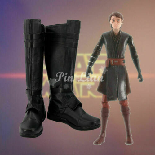 Star Wars Clone Wars Anakin Skywalker Black Boots Shoes Fiction Cosplay Costume