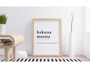 Disney Lion King Quote Poster Hakuna Matata Definition Meaning Wall Art Print