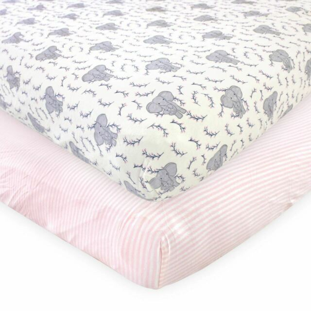 Touched by Nature Organic Cotton Fitted Crib Sheets, Girl Elephant 2-Pack