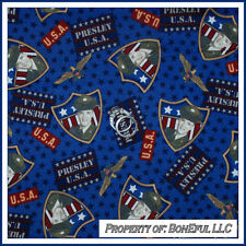 BonEful FABRIC FQ Cotton Quilt VTG Navy Blue USA Military Freedom Badge Red Star