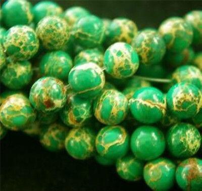 "Natural 8mm Green Sea Sediment Jasper Gemstone Round Beads 15"""