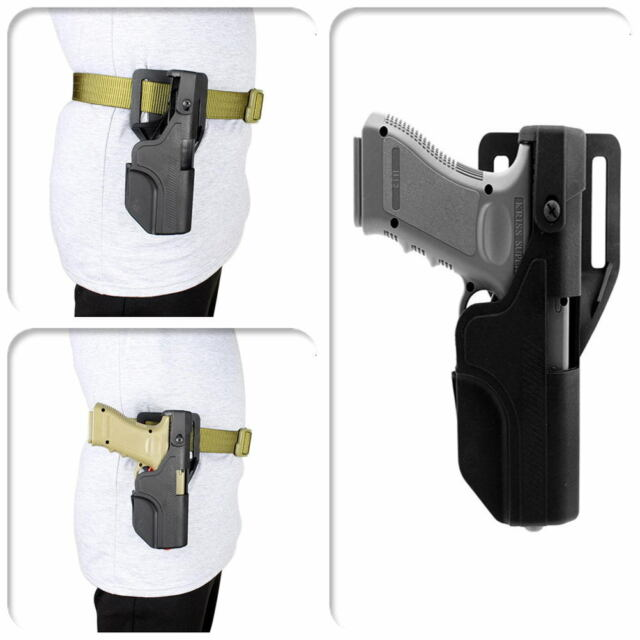 Tactical Auto Load Holster Automatic Lock Duty Pistol Waist Belt for Glock 17 19