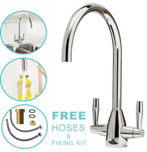 Kitchen-Tap-Sink-Mixer-Twin-Lever-Tap-Swivel-Modern-Chrome-Basin-Waterfall-Taps