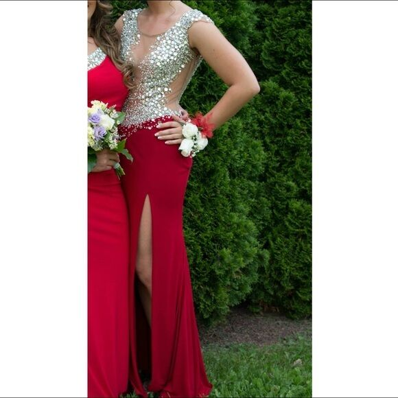 Jovani Prom Gown Size 6 Red Red Red 91032 0656ad