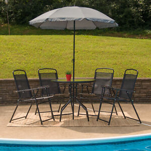 6-Piece-Black-Patio-Set-with-Table-Umbrella-and-4-Folding-Chairs