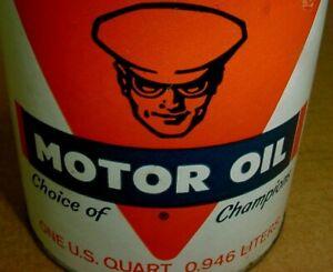 N.O.S. FULL ~ NEAR MINT 1960's era OILZUM MAN MOTORCYCLE MOTOR OIL Old 1 qt. Can