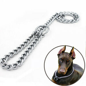 Pet-Dog-Choke-Chain-Choker-Collar-Strong-Silver-Stainless-Steel-Training-4-Sizes