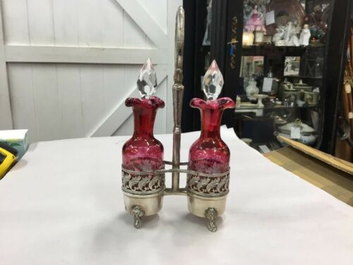 ANTIQUE CRANBERRY GLASS CRYSTAL PINK VICTORIAN OIL BOTTLE VINAIGRETTE SET