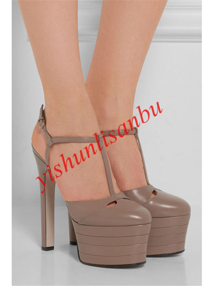 Plus Size Women's Leather T-strap High Heel Stiletto Platform Rivets Metal shoes
