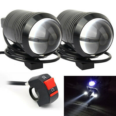 2Pcs U1 Motorcycle Headlight Projector Driving Fog Light Lamp Spot with Switch