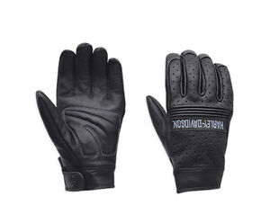 Harley-Davidson-Mens-Discord-Perforated-Black-Leather-Full-Finger