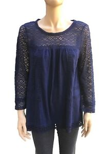 NWT-Long-Sleeve-Scoop-Neck-Riannon-Crochet-Lace-Top-M