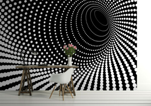 Giant Wall mural photo wallpaper Illusion Twisted dots black tunnel motif decor