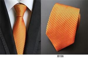 Orange-Mens-Tie-Pocket-Square-Set-Pattern-Handmade-100-Silk-Wedding-Necktie-8cm