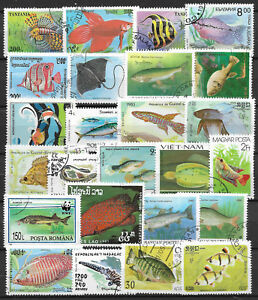 FISH-Collection-Packet-25-Different-Stamps-Lot-1